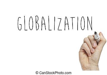 globalização, mão, escrita