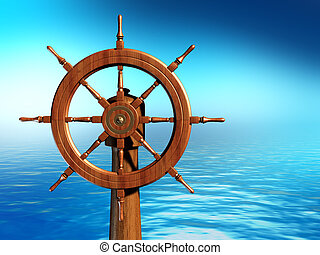 Ship wheel over a sea background. Digital illustration