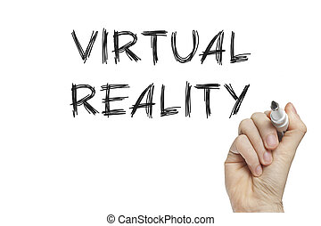 Hand writing virtual reality on a white board