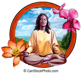Girl meditating - Young woman meditating Original hand...