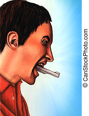 Verbal aggression - Man shouting with a gun coming out from...