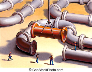 Pipes network - Team working on a pipes system Mixed media...