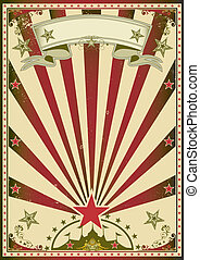 Circus red color - A grunge circus poster with red sunbeams...
