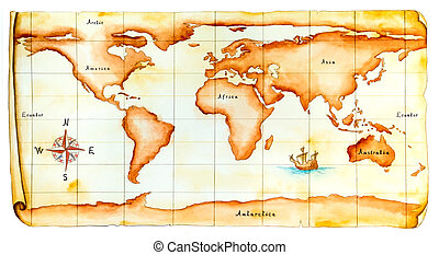 Old world map - World map, antique style Original hand...