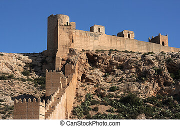 Almeria - Alcazaba - fortified Moorish castle on a hill in...