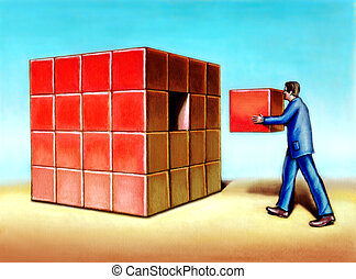 Missing piece - Businessman inserting last missing piece to...