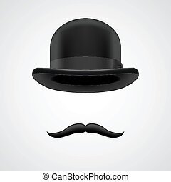 wealthy gentleman with moustaches and bowler hat - curly...