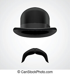 funny gentleman with moustaches and bowler hat - dropped...
