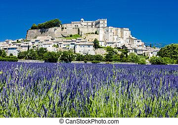 Grignan with lavender field, D�partement Dr�me,...
