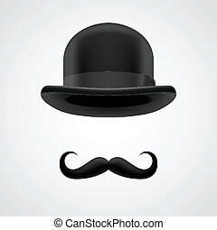rich gentleman with moustaches and bowler hat - curly...