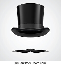 moustaches and stovepipe hat victorian gentleman - unbent...