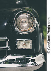 closeup of classic luxury black car - closeup of a soviet...