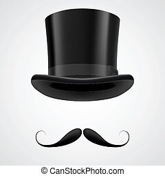 moustaches and stovepipe hat victorian gentleman - curly...
