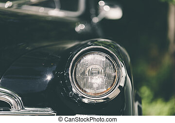 Closeup of classic luxury black car. - closeup of a soviet...