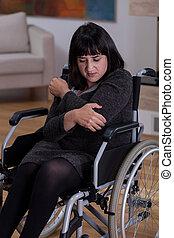 triste, sozinha, mulher, Cadeira rodas