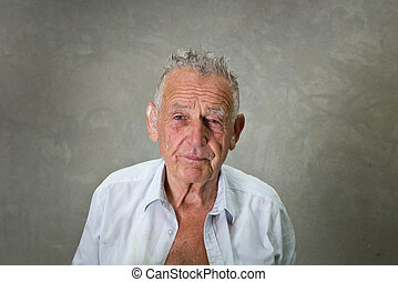 Old man with wet hair - Portrait of wrinkled old man with...