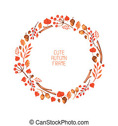 Vector watercolor autumn frame Illustration Beautiful...