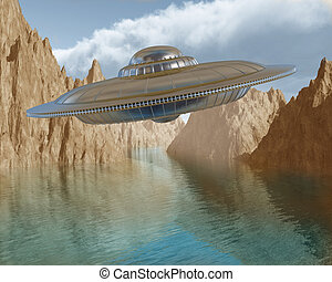 Flying saucer - Illustration of a flying saucer hovering in...