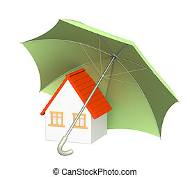 Home insurance - Concept - home insurance. Object over white
