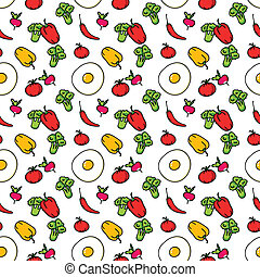 Seamless kitchen background of vegetables. Beautiful background. Vector illustration. Endless texture can be used for printing onto fabric and paper or scrap booking.