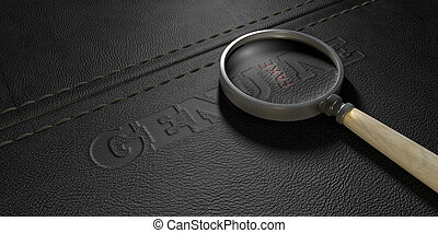 Fake Leather With Magnifying Glass - A concept image showing...