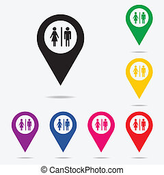 Restroom - Map pointer with toilet, Washroom, Restroom,...