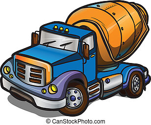 Cartoon concrete mixer Isolated - Illustration of a cCartoon...