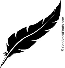 Blank bird feather vector shape isolated on white...
