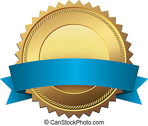 Blank golden quality label with blue banner vector template...