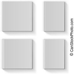 Blank book cover vector template isolated on white...