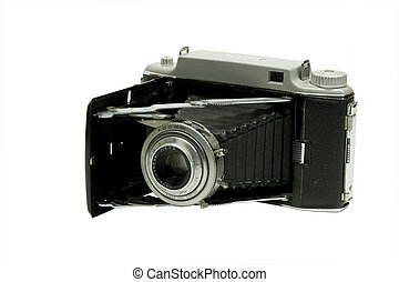 antique camera - antique film camera in the open position...