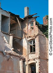 old house in Magdeburg - old partially collapsed house in...