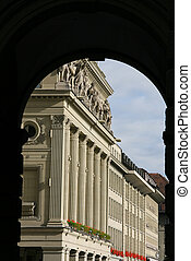 Berne - Arched passage in Berne, Switzerland. Architecture...