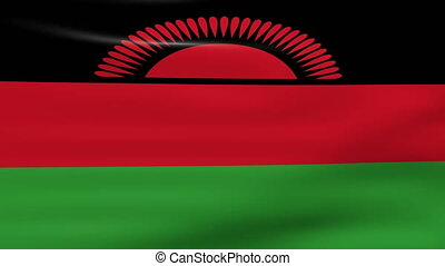 Waving Malawi Flag, ready for seamless loop