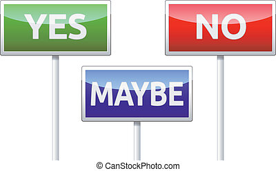 Yes, No, Maybe - three colorful traffic sign isolated on white background