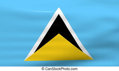 Waving Saint Lucia Flag, ready for seamless loop.