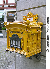Old Mailbox - Old yellow post box, photo taken in Limburg,...