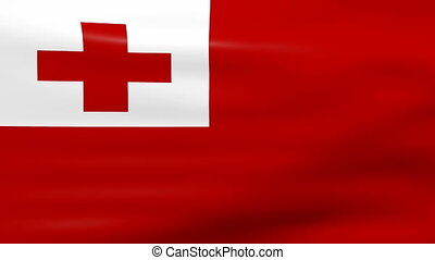 Waving Tonga Flag, ready for seamless loop.