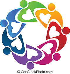 Teamwork hearty people flower logo vector