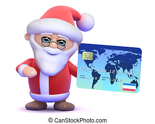 3d Santa Claus with a credit card