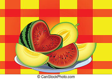 watermelon melon - watermelon and melon cut into slices on a...