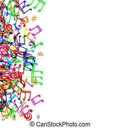 music notes border - Colorful music notes border frame on...