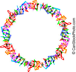 music notes border frame - Colorful music notes border frame...