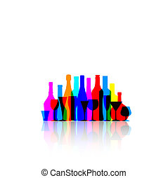colorful bottles and glasses