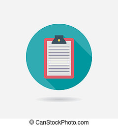 Clipboard Flat style Icon with long shadows