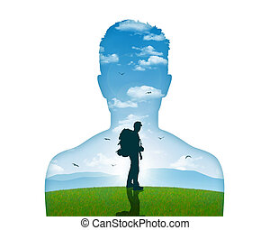 leaving for the inner journey - image of a young man leaving...