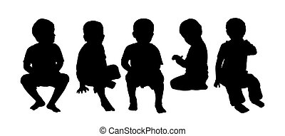 medium group of children seated silhouette 4