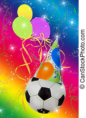 Soccer Party - Party hat on a soccer ball with balloons and...