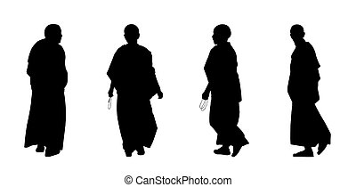 buddhist monks silhouettes set 2 - silhouettes of buddhist...