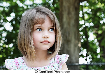 Cute Girl with Bobbed Hair - Cute little girl with bobbed...